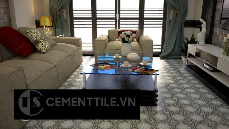 Gạch bông CTS 1.47 lát nền phòng khách