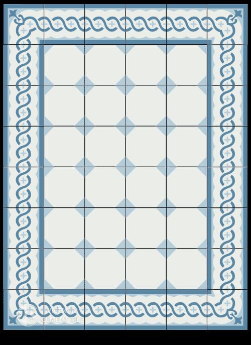 Gạch bông tông màu xanh