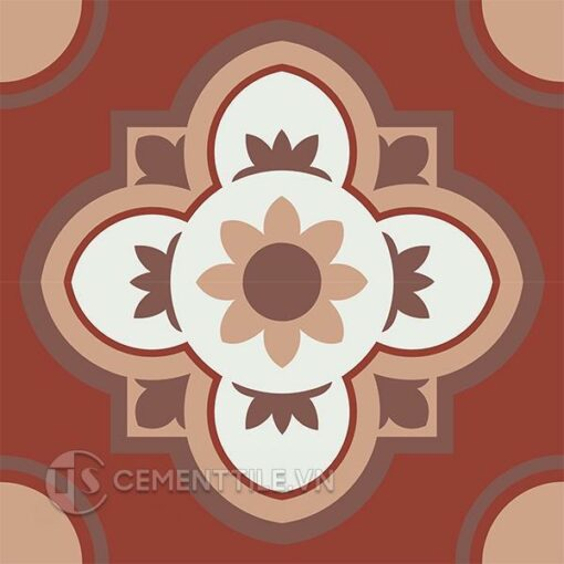 Gạch bông CTS 213.1(4-11-60-62) - 4 viên - Encaustic cement tile CTS 213.1(4-11-60-62) - 4 tiles