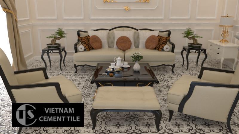 Gạch bông cts 5.13 trang trí phòng khách