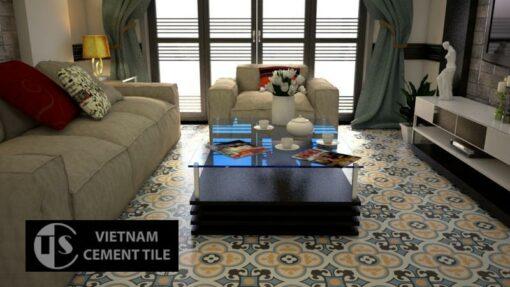 Gạch bông cts 129.7 trang trí phòng khách
