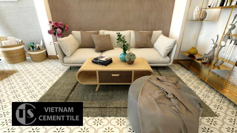 Gạch bông cts 220.1 trang trí phòng khách