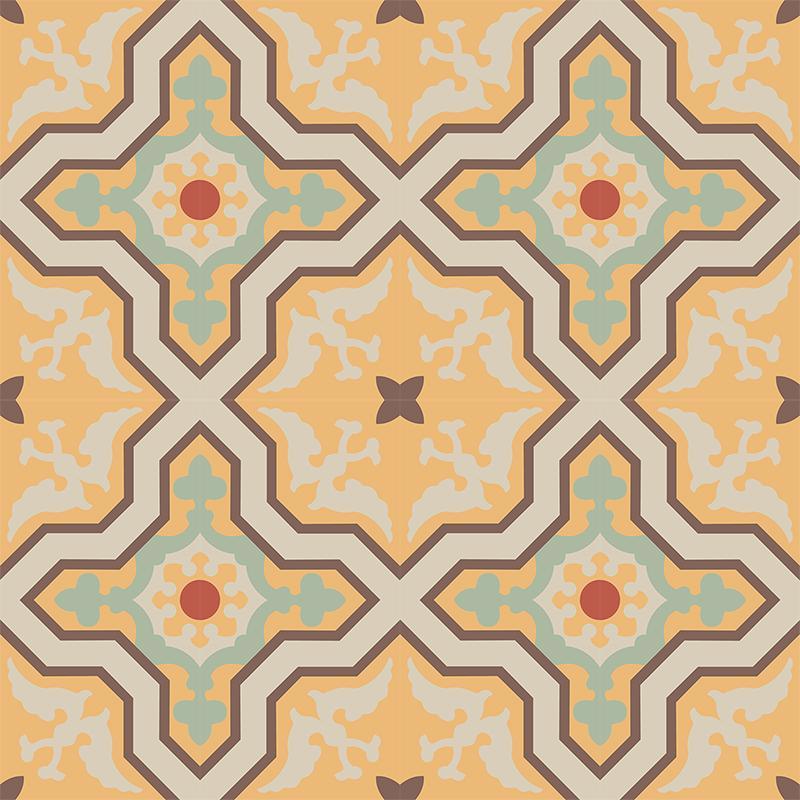 Gạch bông CTS 124.2(5-6-7-12-14) - 16 viên - Encaustic cement tile CTS 124.2(5-6-7-12-14) - 16 tiles