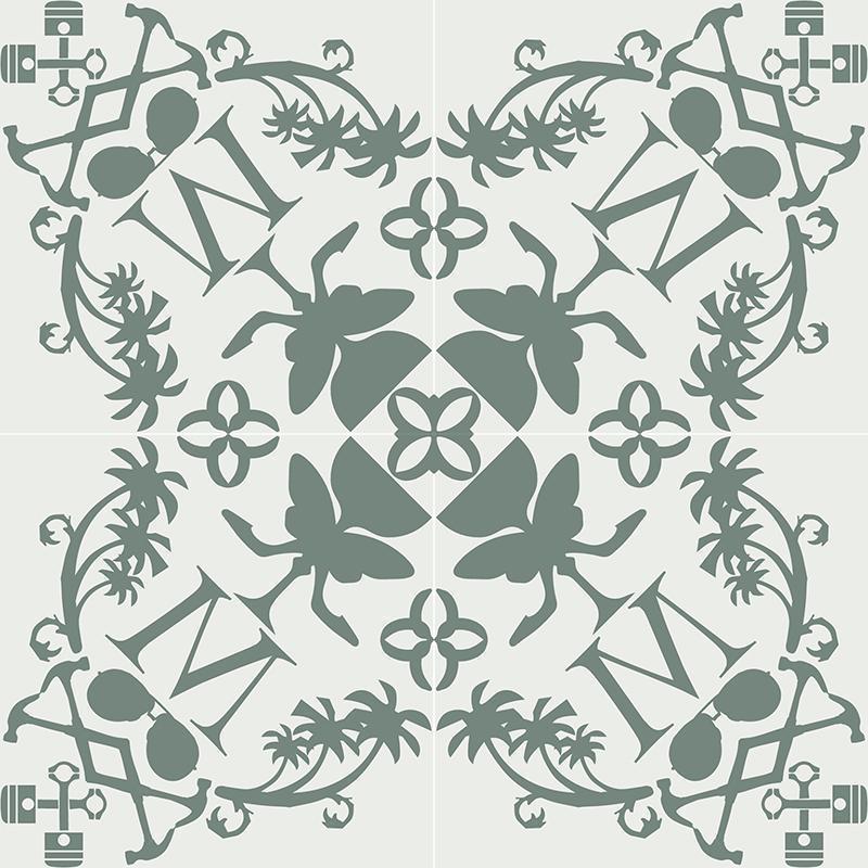 Gạch bông CTS CTS 227.1(4-24) - 4 viên - Encaustic cement tile CTS 227.1(4-24) - 4 tiles