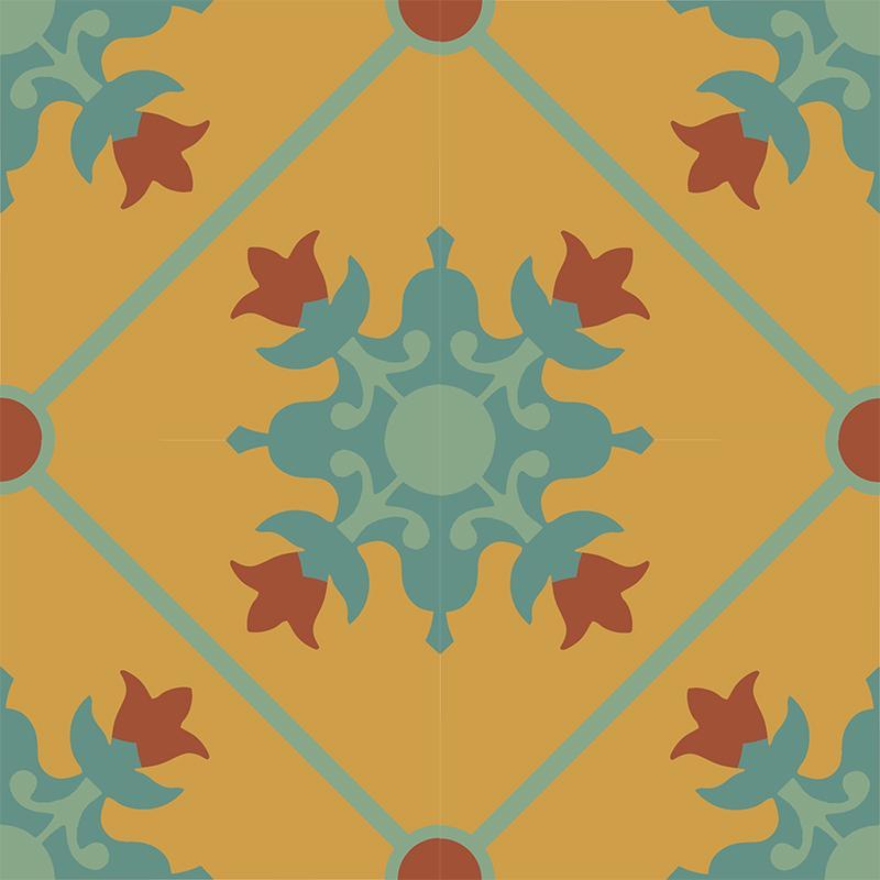 Gạch bông CTS 23.3(6-7-40-62) - 4 viên - Encaustic cement tile CTS 23.3(6-7-40-62) - 4 tiles