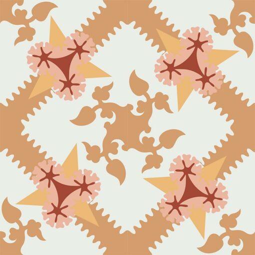 Gạch bông CTS 258.1(4-6-34-38-30) - 4 viên - Encaustic cement tile CTS 258.1(4-6-34-38-30) - 4 tiles