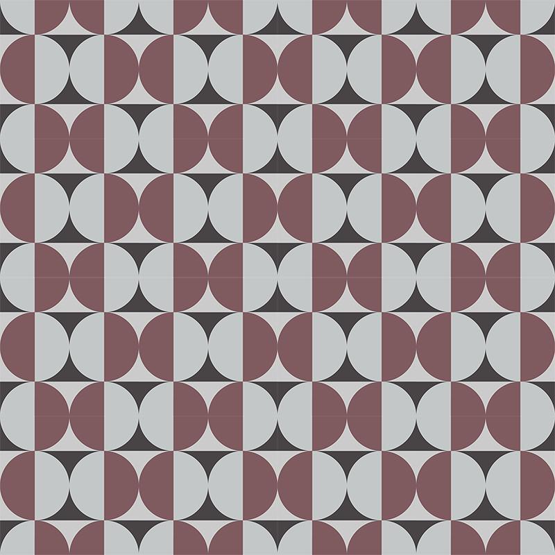 Gạch bông CTS 291.1(13-54-Dark red) - 16 viên - Encaustic cement tile CTS 291.1(13-54-Dark red) - 16 tiles